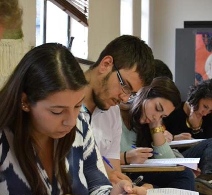 Students taking an exam
